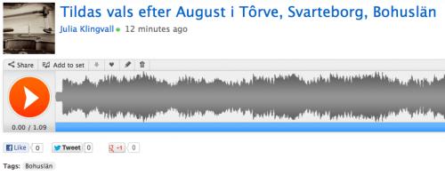 Så här ser det ut på SoundCloud